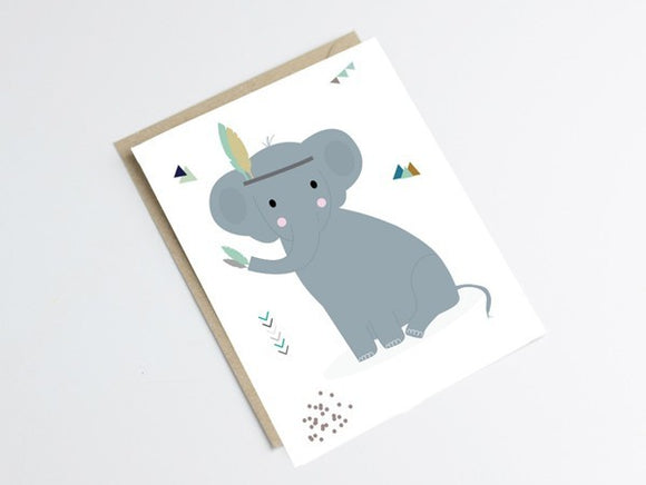 Carte postale éléphant by Green and Paper
