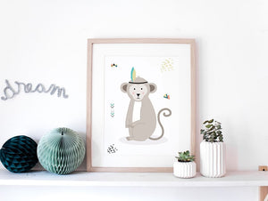 Affiche enfant singe by Green and Paper
