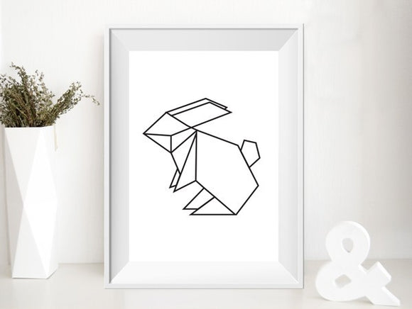 Affiche lapin origami by Green and Paper
