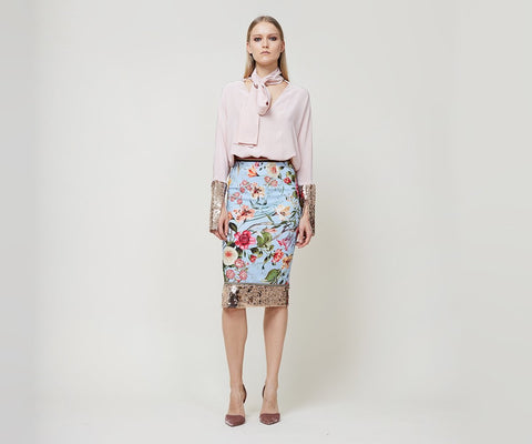 """Crepe pencil skirt with sequined band at hem. Waist is trimmed with grosgrain. """"Sophisticated for work, and stylish enough for a night with friends."""" - Allie Blair, Design Intern Fabric: Pale blue printed stretch crepe. <!-- td {border: 1px solid #ccc;}br {mso-data-placement:same-cell;} --><!-- td {border: 1px solid #ccc;}br {mso-data-placement:same-cell;} --><!-- td {border: 1px solid #ccc;}br {mso-data-placement:same-cell;} -->"""