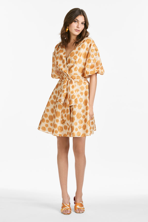 Daria Dress - Mustard Polka Dot Ikat