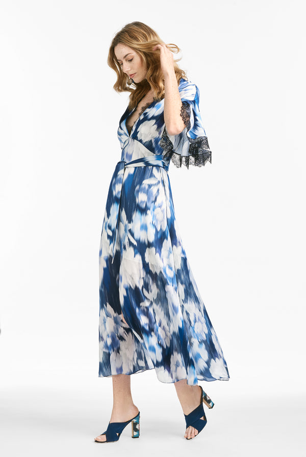 Jenny Dress -  Blue Ikat Floral