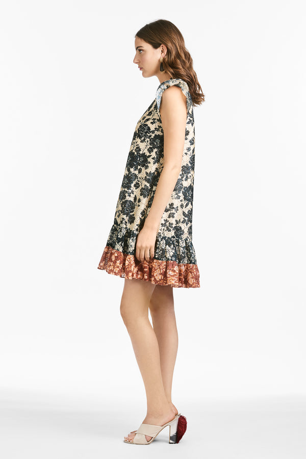 Sharla Dress - Ivory & Black Large Peony