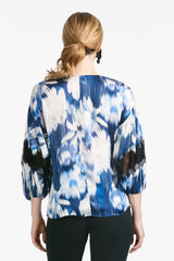 Mallory Blouse - Blue Ikat Floral