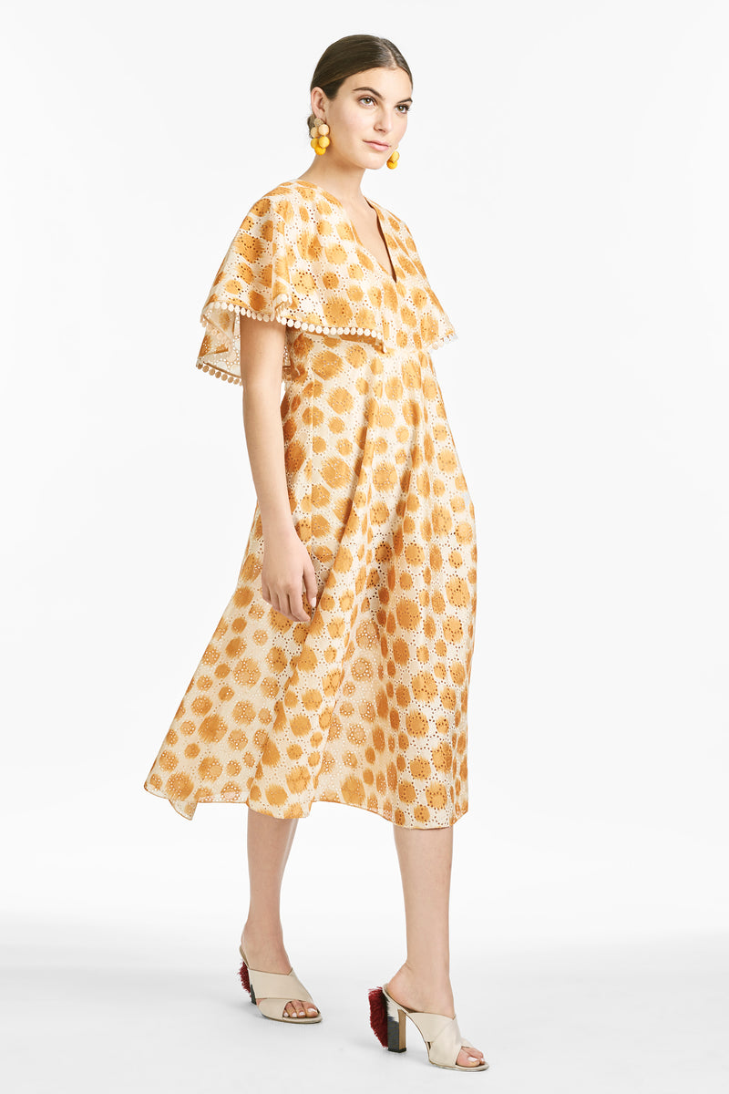 Luciana Dress - Mustard Polka Dot Ikat
