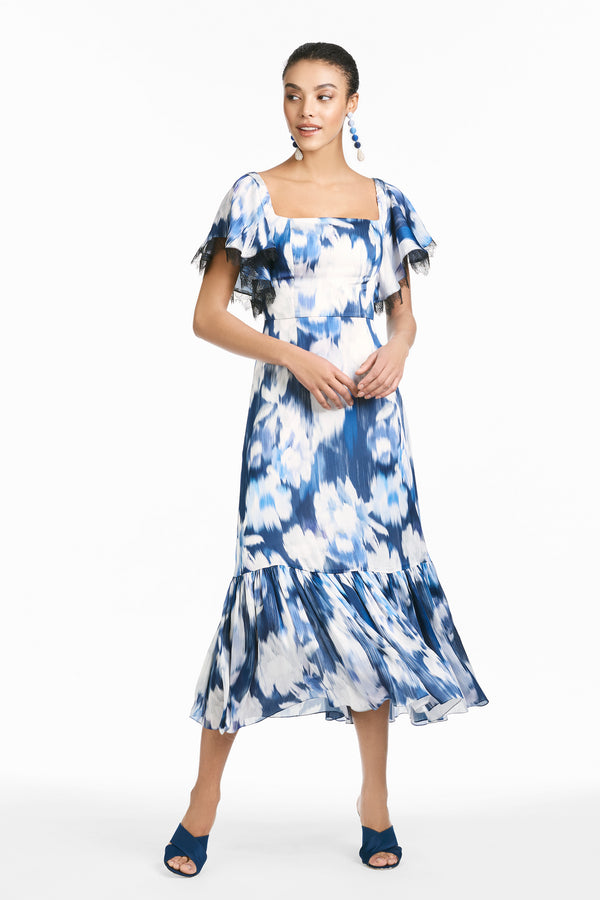Camryn Dress - Blue Ikat Floral