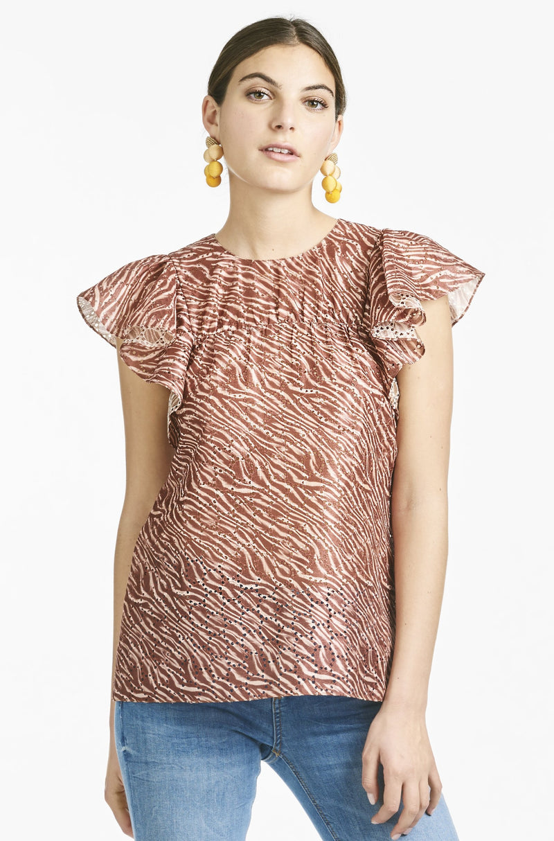 Candice Blouse - Burgundy Zebra