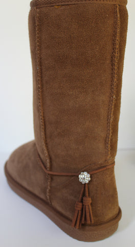 Boot Bracelets with Tassels and Button Jewel