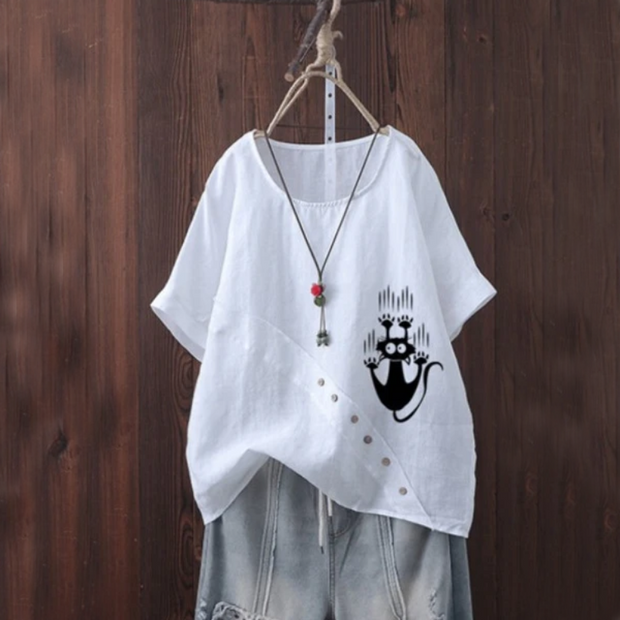 Catch the Cat Summer Blouse