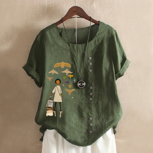 Girl Patch Button Summer Blouse