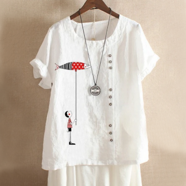 Fish Patch Button Summer Blouse