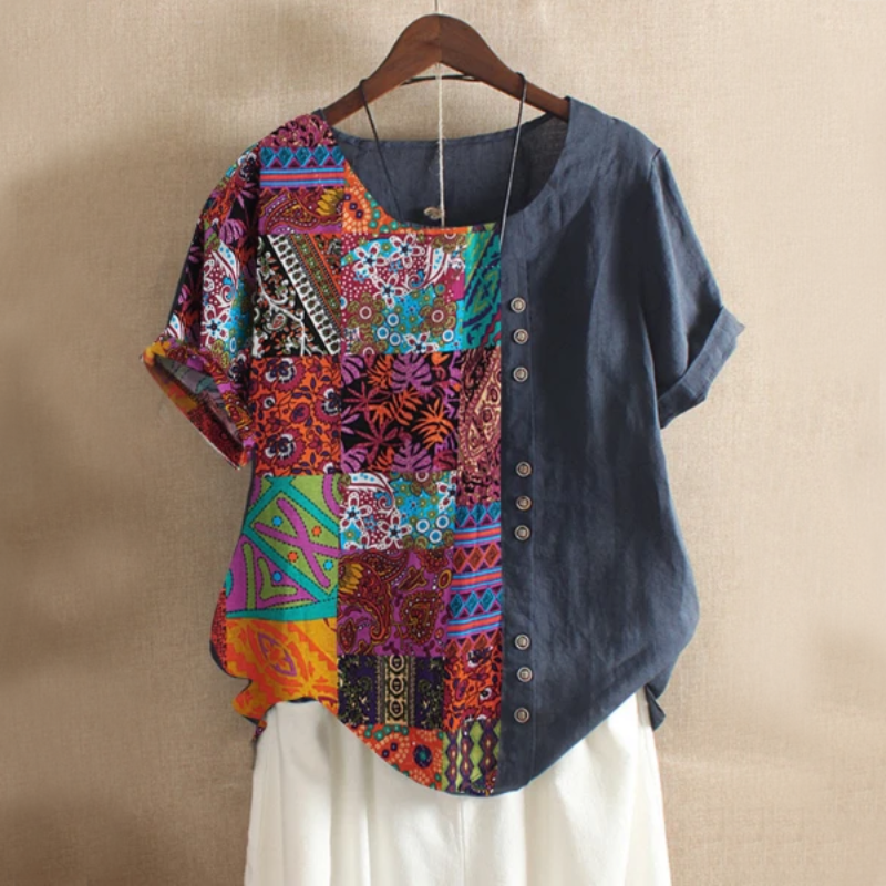 Folk Style Short Sleeve Summer Blouse