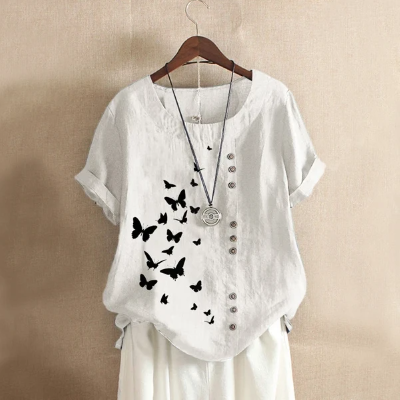 Butterflies Print Button Summer Blouse