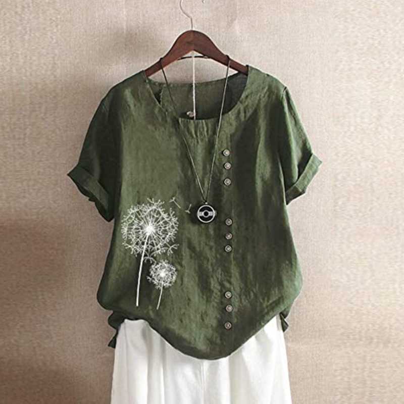 Dandelion Patch Button Summer Blouse