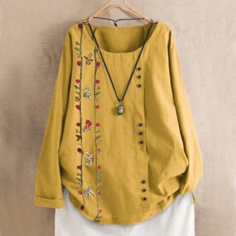 Floral Patch Button Summer Blouse