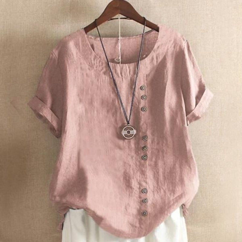 Short Sleeve Button Summer Blouse