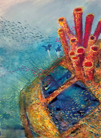 Soft pastel and acrylic painting of the wreck of the Hilma Hooker in Bonaire