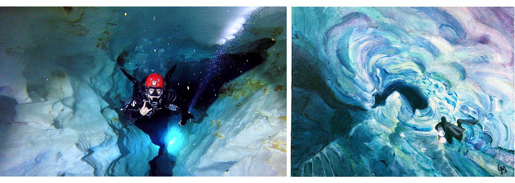 Diving and painting the ice tunnel in El Toro cave Dominican Republic