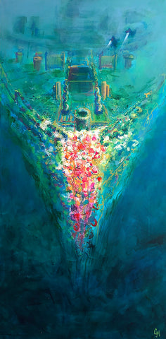 Acrylic on wood canvas painting of the bow of the SS Saganaga wreck at Bell Island Newfoundland