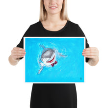 Load image into Gallery viewer, The Great White Spy Hopping Shark Print