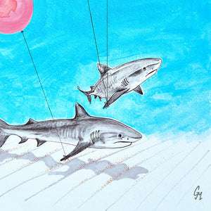 Juvenile Tiger Sharks Out and About Art Print