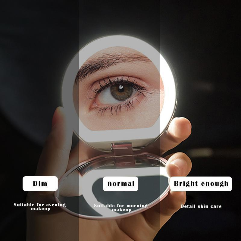 LED Lighted Travel 10X Makeup Mirror