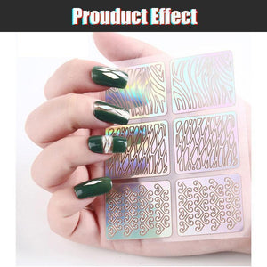 Hollow Nail Stencil DIY Stickers Kit