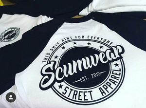Scumwear Baseball T (White and Black)