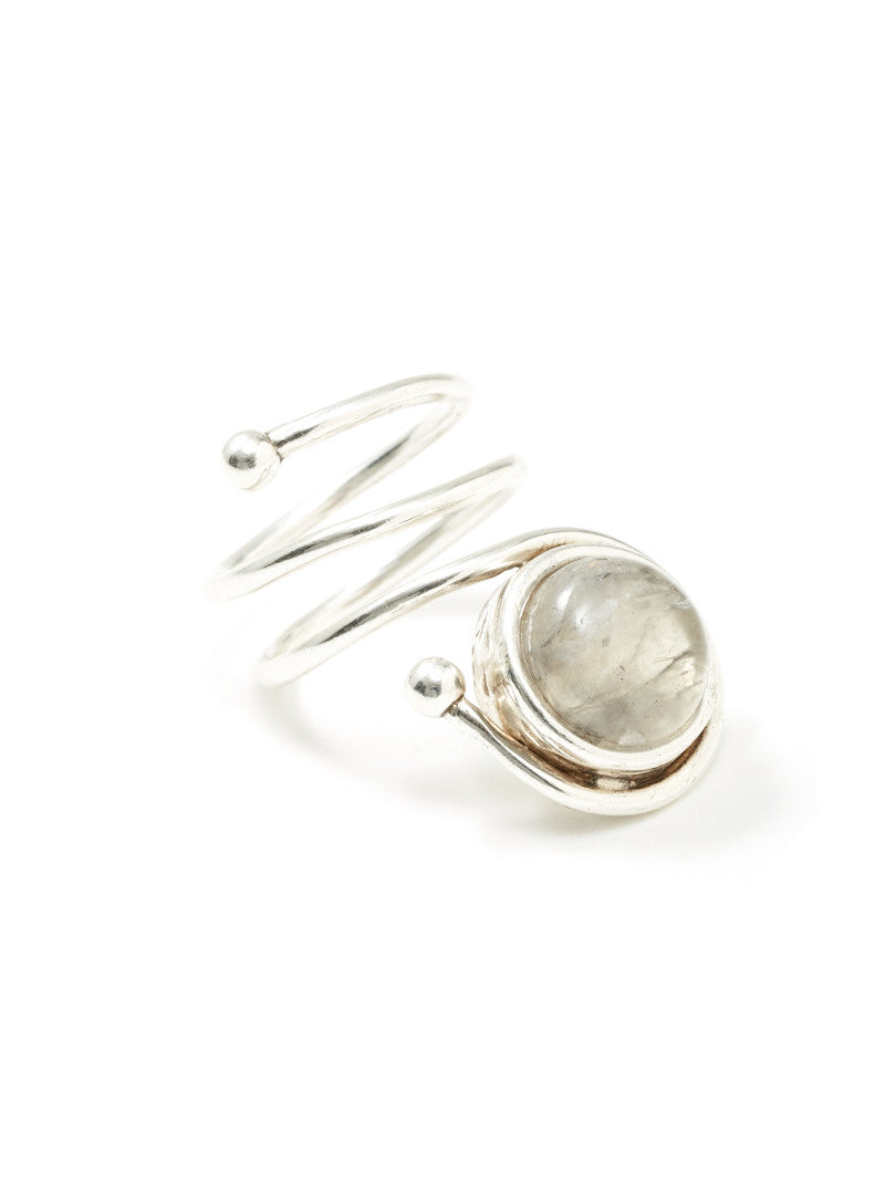 Prey Wedding Ring.Moon Stone Coil Ring
