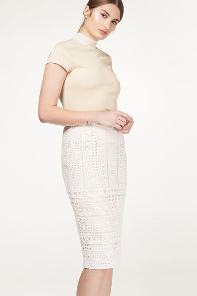 Ammara Lace Fitted Skirt-Skirt-Estelle