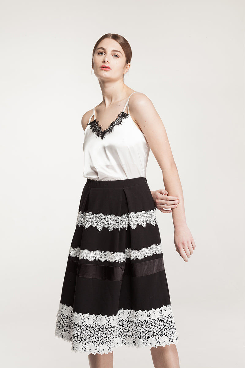 Midi Black Lace Skirt - 60% Off
