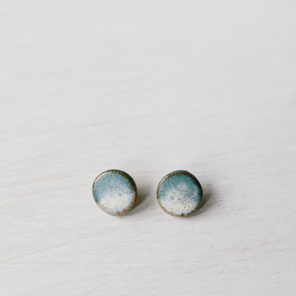 Salty Blue Large Circle Studs