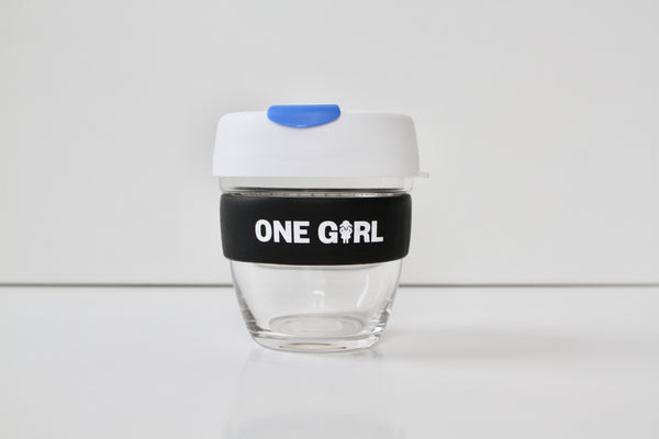 One Girl KeepCup Small Glass - White & Blue