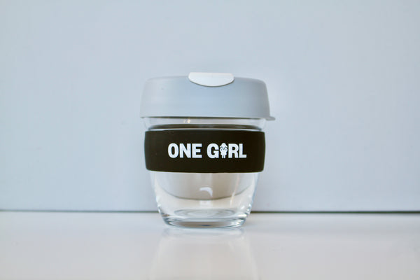 One Girl KeepCup Small Glass – Grey & White