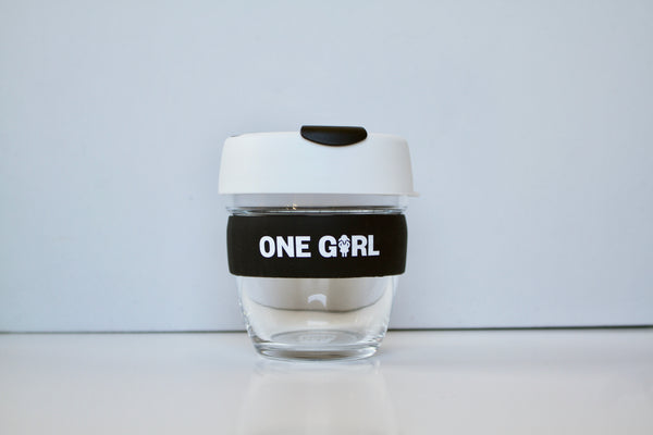One Girl KeepCup Small Glass - White & Black
