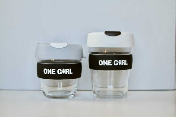 One Girl KeepCup Glass - White & Black