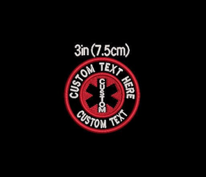 CUSTOM Text With Medical Cross - Service/Assistance Dog embroidered patch - Avasa Crafts