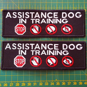 Pre-made - Two Assistance Dog in training with 4 symbol embroidered patch - Avasa Crafts