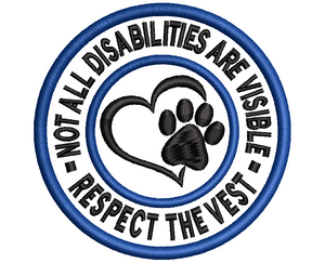 RESPECT THE VEST - Service/Assistance dog embroidered patch - Avasa Crafts