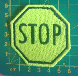 Pre-made SALE - STOP sign - Fluro Yellow and Black embroidered patch - Avasa Crafts