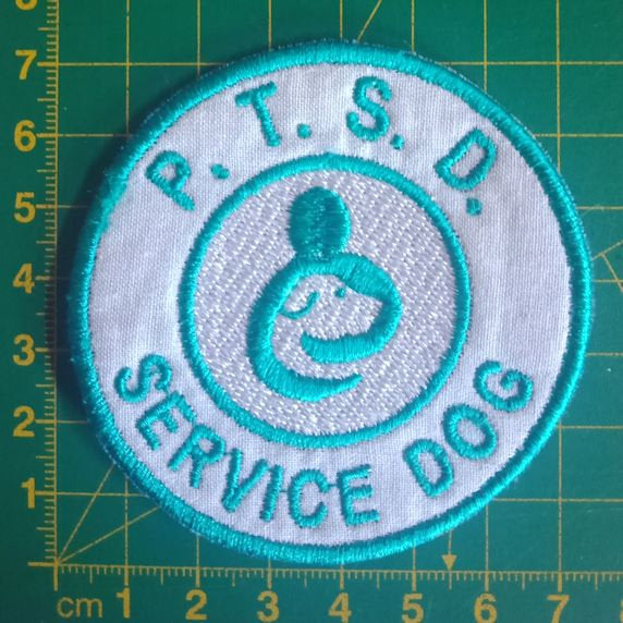 Pre-made SALE - Psychiatric Service Dog - White and teal embroidered patch - Avasa Crafts