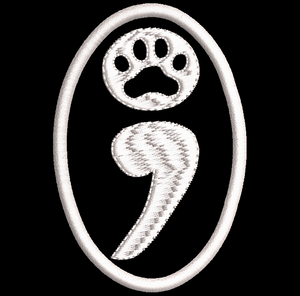 CHOOSE LIFE - SEMICOLON PAW Service/Assistance Dog embroidered patch - Avasa Crafts