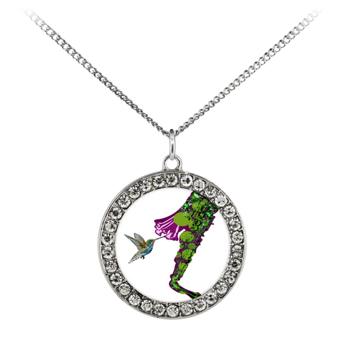 Hummingbird Necklace Stone Coin