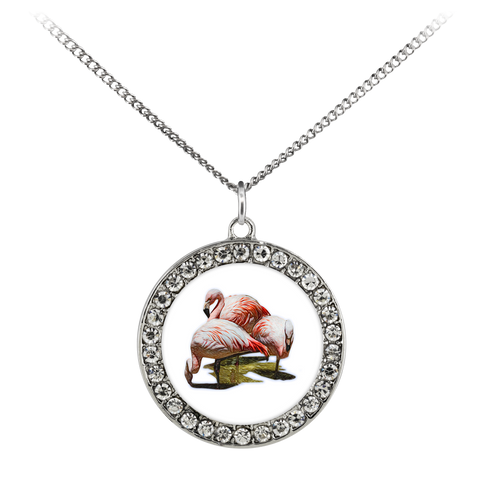 Flamingo Necklace Stone Coin