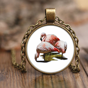 Flamingo Necklace Antique Brass