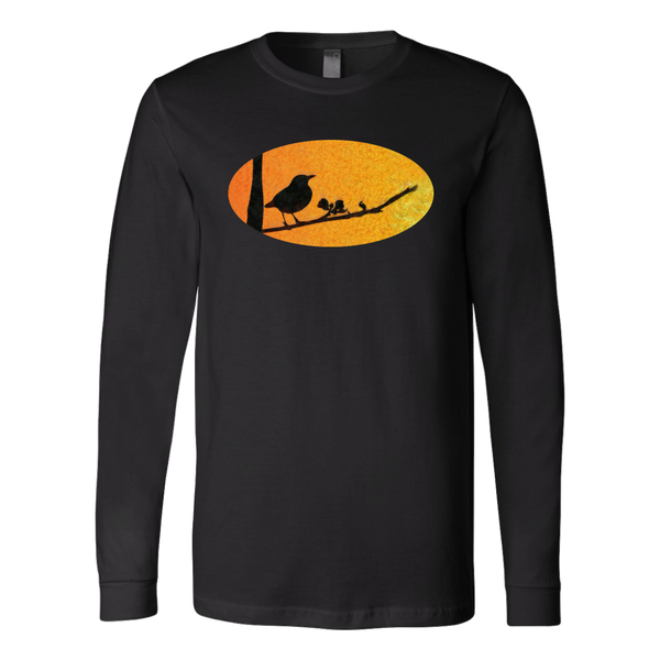 Black Bird Canvas Long Sleeve Shirt