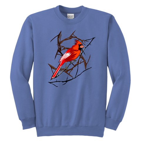 Northern Cardinal Bird Youth Crewneck Sweashirt
