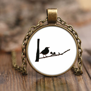 Black Bird Necklace Antique Brass