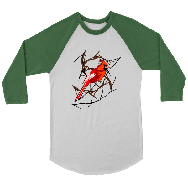 Northern Cardinal Bird Canvas Unisex 3/4 Raglan