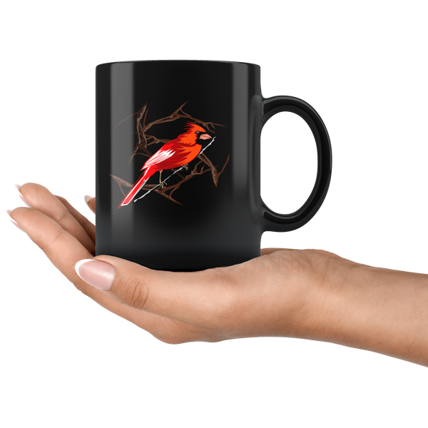 Northern Cardinal Bird Black 11oz Mug